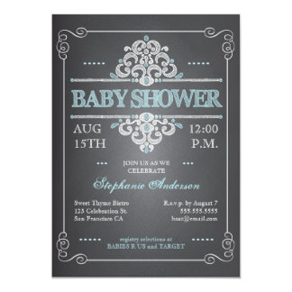 Vintage Chalkboard Baby Shower Boy Blue Invitation