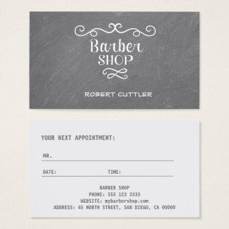 Vintage chalkboard barber shop white swirls business card