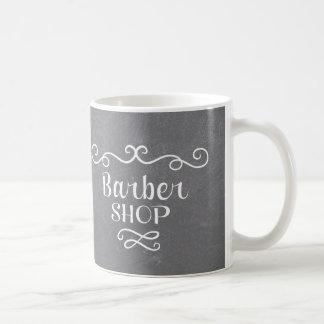 Vintage chalkboard barber shop white swirls coffee mug