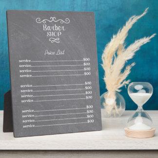 Vintage chalkboard barber shop white swirls plaque