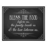 Vintage Chalkboard Bless this food wedding print