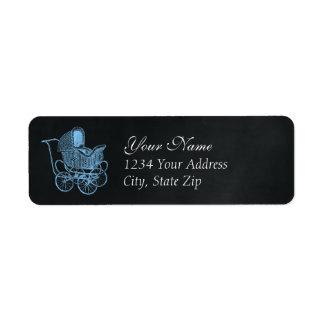 Vintage Chalkboard Blue Baby Carriage Baby Shower Return Address Label