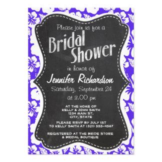 Vintage Chalkboard Blue Violet Tropical Hibiscus Invitation