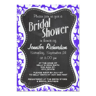 Vintage Chalkboard; Blue Violet Tropical Hibiscus Invitation