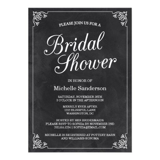 Vintage Chalkboard Bridal Shower Invites
