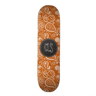 Vintage Chalkboard Burnt Orange Paisley Floral Skate Board