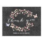 Vintage Chalkboard Butterfly & Flowers Thank You Postcard