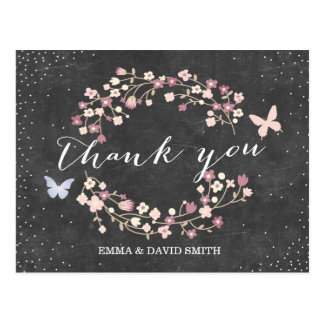Vintage Chalkboard Butterfly & Flowers Thank You Postcard