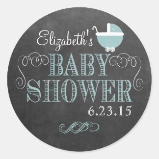 Vintage Chalkboard Carriage In Blue - Baby Shower Round Sticker
