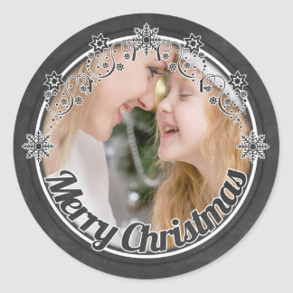 Vintage chalkboard Christmas photo stickers