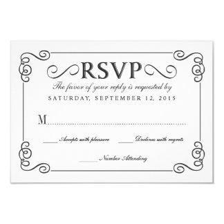Vintage Chalkboard Elegant Wedding RSVP 9 Cm X 13 Cm Invitation Card