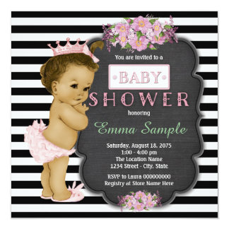 Vintage Chalkboard Ethnic Baby Girl Shower Personalized Announcements