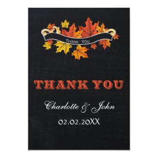 Vintage Chalkboard fall wedding Thank You 13 Cm X 18 Cm Invitation Card