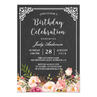 Vintage Chalkboard Floral Birthday Celebration 13 Cm X 18 Cm Invitation Card