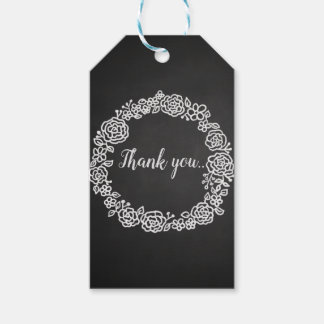 Vintage Chalkboard Floral Wreath Wedding Gift Tags