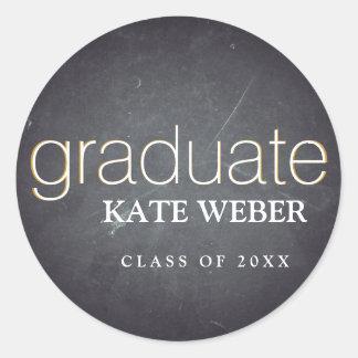 Vintage Chalkboard Graduation Classic Round Sticker