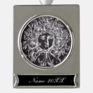 vintage chalkboard Greek mythology Gorgon medusa Silver Plated Banner Ornament