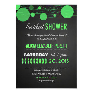Vintage Chalkboard Green Lanterns Bridal Shower 11 Cm X 16 Cm Invitation Card