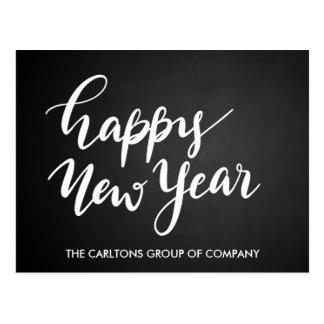 Vintage Chalkboard Happy New Year Script Corporate Postcard