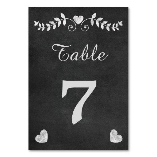 Vintage Chalkboard Heart Wedding Table Cards