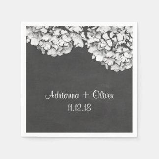 Vintage Chalkboard Hydrangeas Floral Wedding Disposable Serviette