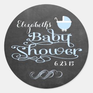 Vintage Chalkboard Look - Baby Shower Round Sticker