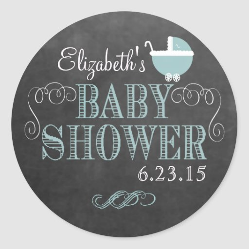 Vintage Chalkboard Look - Baby Shower Stickers