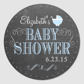 Vintage Chalkboard Look - Baby Shower Round Stickers