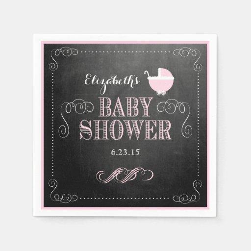 Vintage Chalkboard Look-Baby Shower Paper Napkin