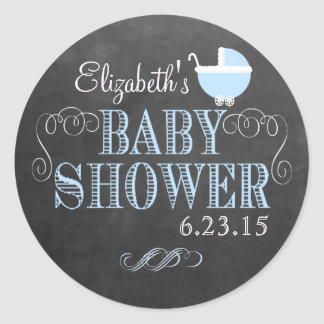 Vintage Chalkboard Look Blue Baby Shower Classic Round Sticker