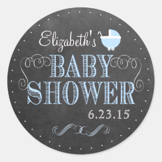 Vintage Chalkboard Look Blue Carriage Baby Shower Round Sticker
