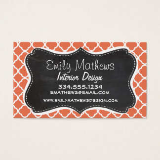 Vintage Chalkboard look; Burnt Sienna Quatrefoil Business Card