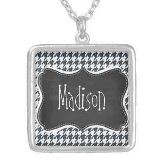 Vintage Chalkboard look Charcoal Color Houndstooth Necklace