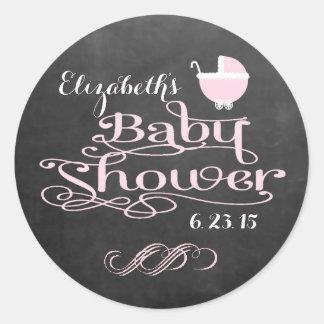 Vintage Chalkboard Look - Pink Girls Baby Shower Round Sticker