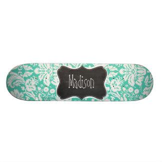 Vintage Chalkboard look Seafoam Green Damask Skate Decks