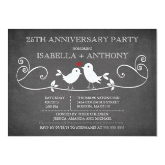 Vintage Chalkboard Love Birds Anniversary Party 11 Cm X 16 Cm Invitation Card