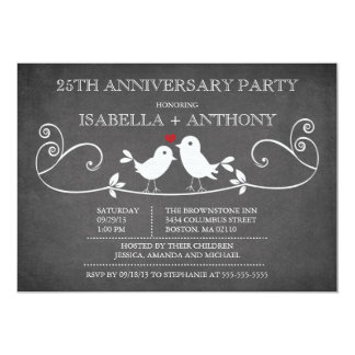 Vintage Chalkboard Love Birds Anniversary Party 13 Cm X 18 Cm Invitation Card