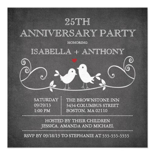 Vintage Chalkboard Love Birds Anniversary Party Personalized Invitations