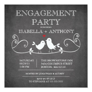 Vintage Chalkboard Love Birds ENGAGEMENT Party 13 Cm X 13 Cm Square Invitation Card