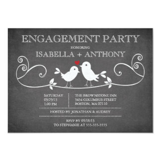 Vintage Chalkboard Love Birds ENGAGEMENT Party Card