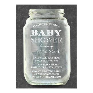 Vintage Chalkboard Mason Jar Baby Shower Custom Announcements
