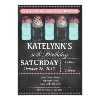 Vintage Chalkboard Mason Jar Birthday Invitation