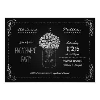 Vintage Chalkboard MasonJar Engagement Party Card
