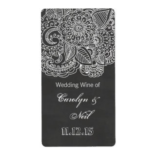 Vintage Chalkboard Paisley Wedding Wine