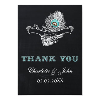 Vintage Chalkboard peacock wedding Thank You 13 Cm X 18 Cm Invitation Card