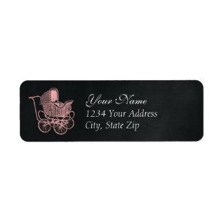 Vintage Chalkboard Pink Baby Carriage Baby Shower Return Address Label