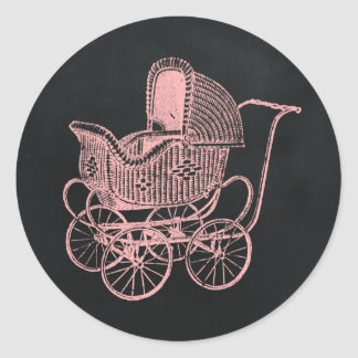 Vintage Chalkboard Pink Baby Carriage Baby Shower Round Sticker