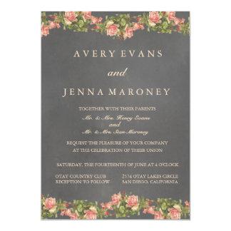 Vintage Chalkboard Pink Flower Wedding Invitation