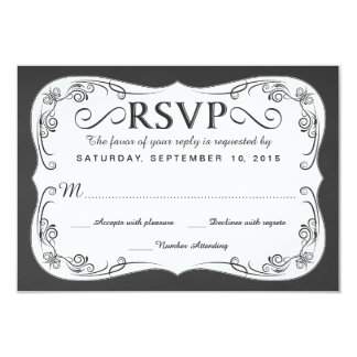 Vintage Chalkboard RSVP Wedding Reply Cards 9 Cm X 13 Cm Invitation Card