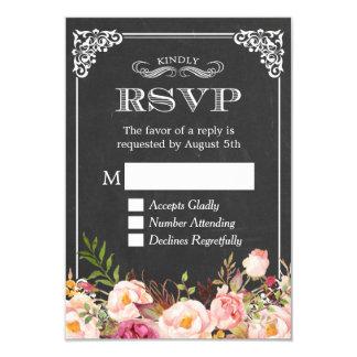 Vintage Chalkboard Rustic Floral Decor RSVP Reply 9 Cm X 13 Cm Invitation Card
